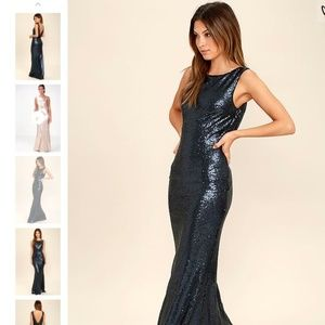 Lulu's Dresses - Lulu's SLINK AND WINK MATTE NAVY BLUE SEQUIN MAXI